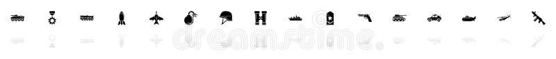 Militär - plana vektorsymboler royaltyfri illustrationer