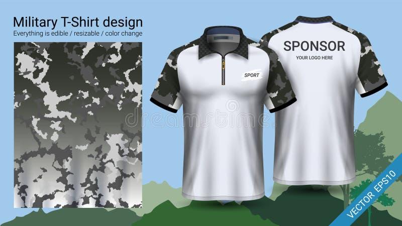 Militär polot-skjorta design, med kamouflagetryckkläder för djungel och att fotvandra trekking eller jägaren, mapp för vektor eps stock illustrationer