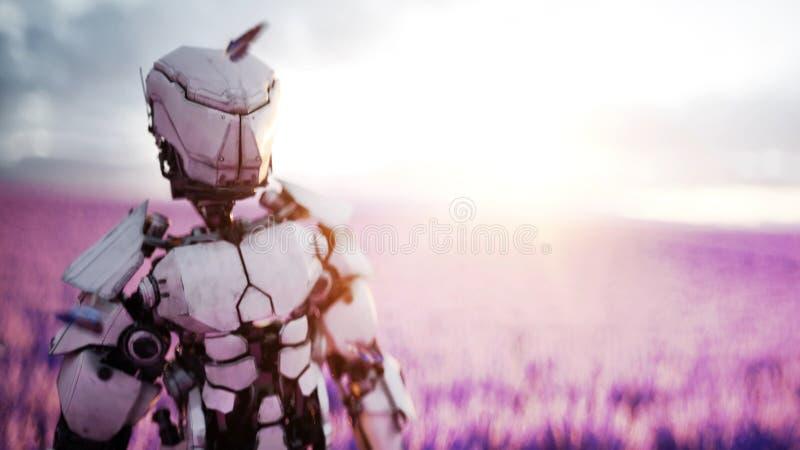 Militär robot, cyborg med vapnet i lavendelfält begrepp av framtiden framförande 3d royaltyfri illustrationer