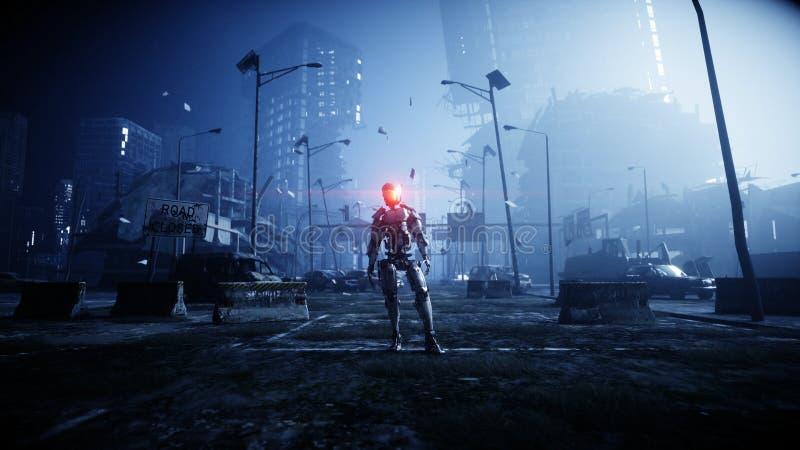 Militär robot i förstörd stad Framtida apokalypsbegrepp framförande 3d vektor illustrationer