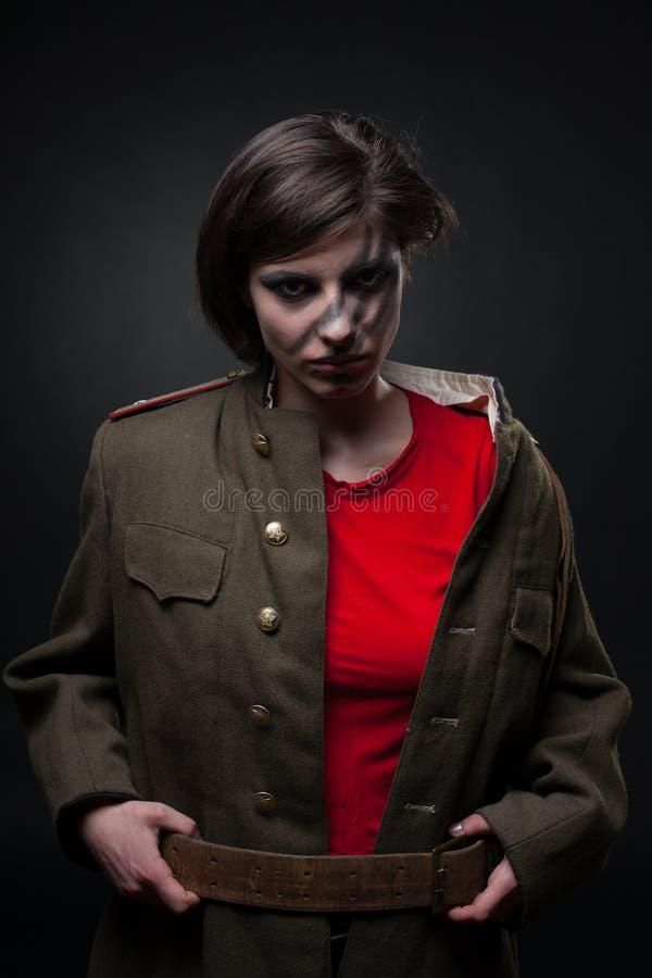 militär sexig uniform kvinna royaltyfria foton