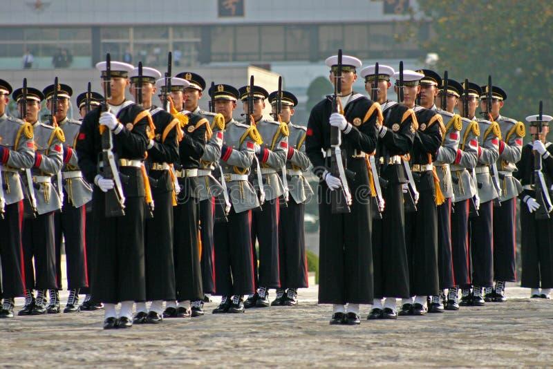 Militär skärm, Seoul, Sydkorea arkivbild