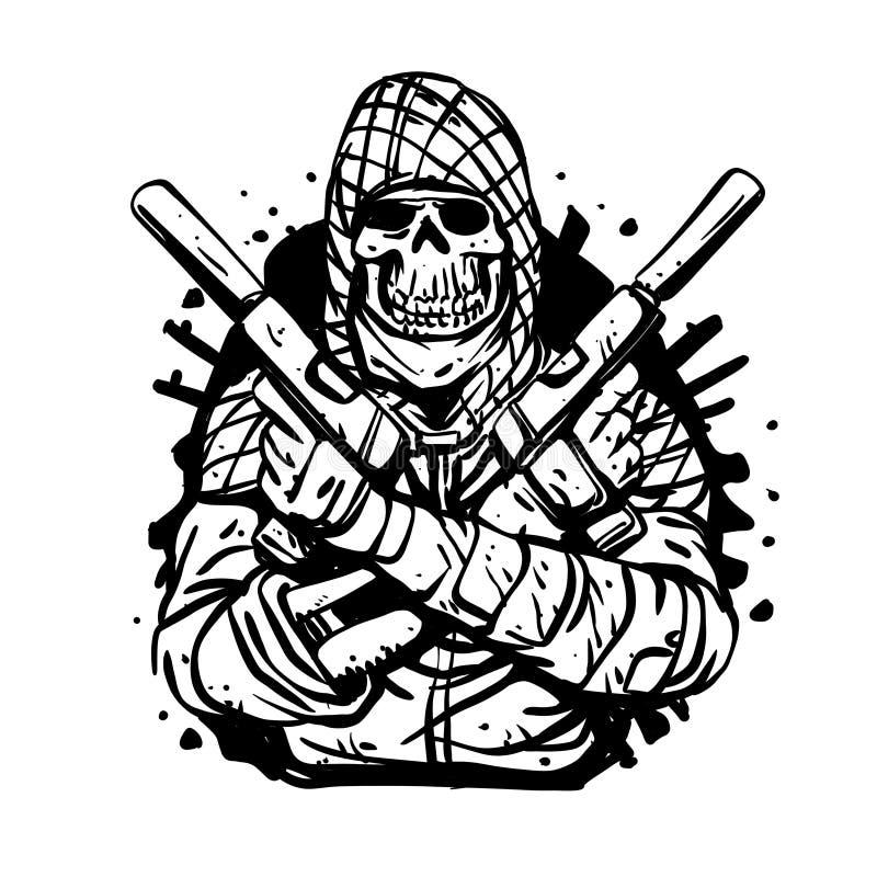 Militär skalle med vapen stock illustrationer