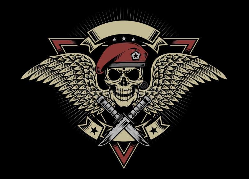 Militär skalle med vingar och dolkar royaltyfri illustrationer