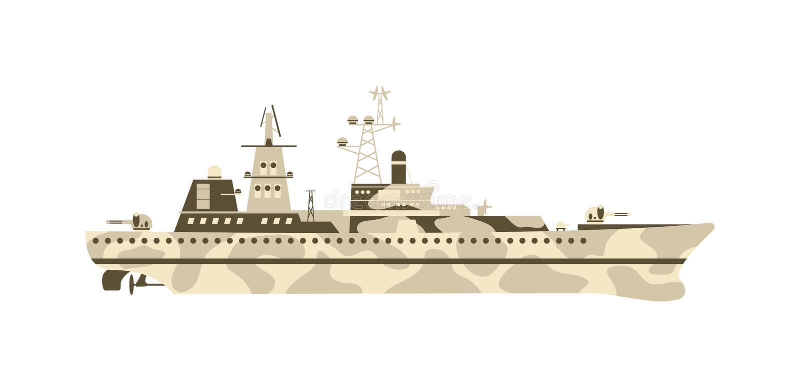 Militär skeppvektorillustration stock illustrationer