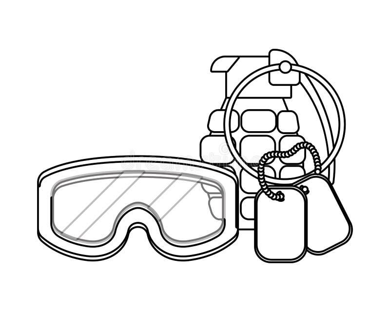 Militär skyddsglasögon med den svartvita granat- och hundetikettsplattan vektor illustrationer