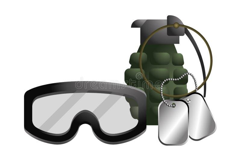 Militär skyddsglasögon med granat- och hundetikettsplattan royaltyfri illustrationer