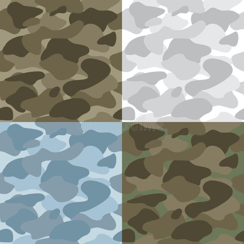Militär soldatCamouflage Seamless Patterns uppsättning stock illustrationer
