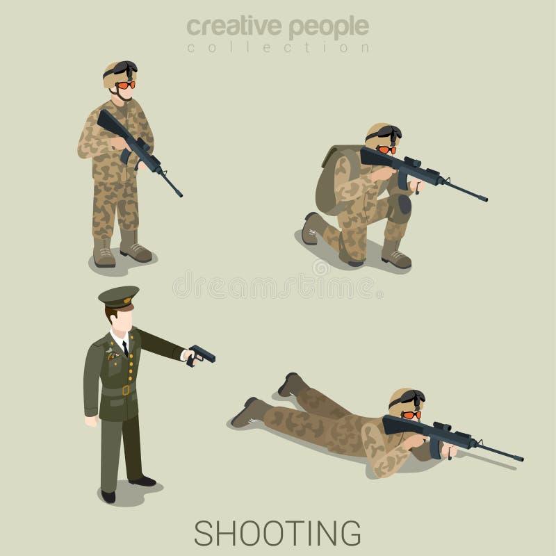 Militär som siktar folk i uppsättning för symbol för likformiglägenhetstil isometrisk vektor illustrationer