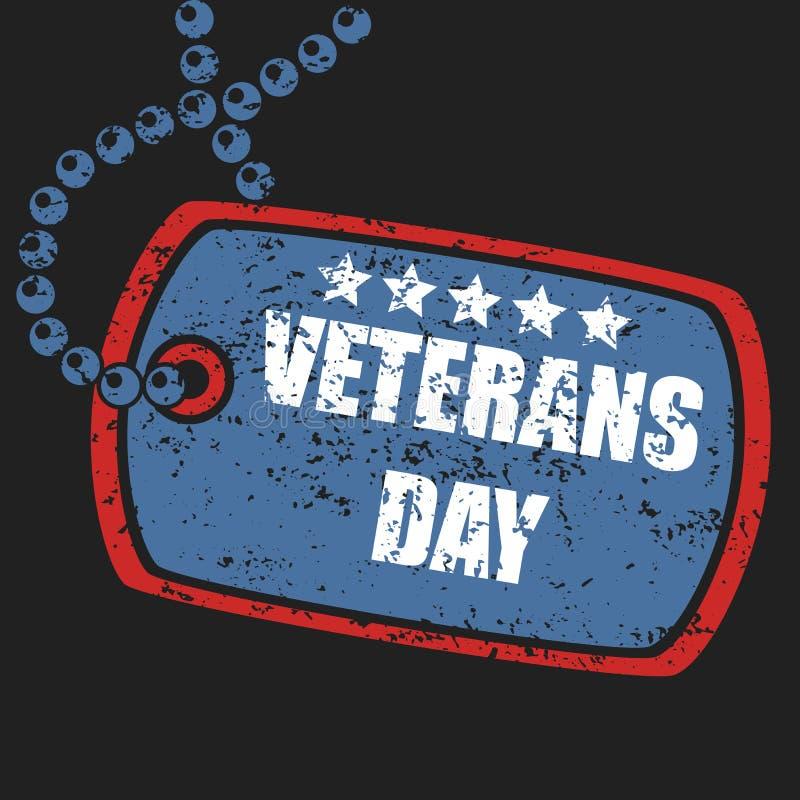 Militär stämpel för hundetikett av veterandagen royaltyfri illustrationer