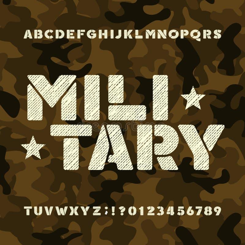 Militär stencilalfabetstilsort Smutsiga djärva bokstäver och nummer på camobakgrund vektor illustrationer