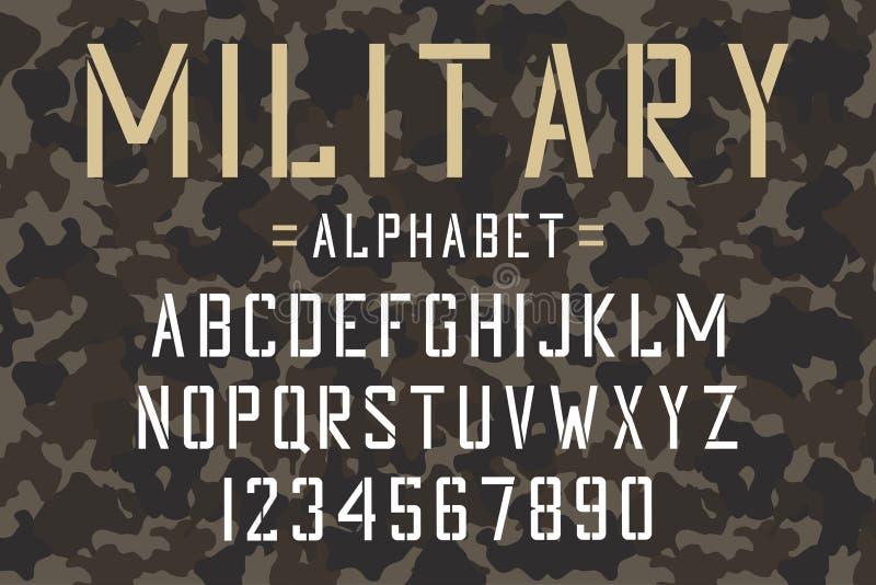 Militär stencilstilsort Arméstencilalfabet och nummer på kamouflagebakgrund Tappningstilsort royaltyfri illustrationer