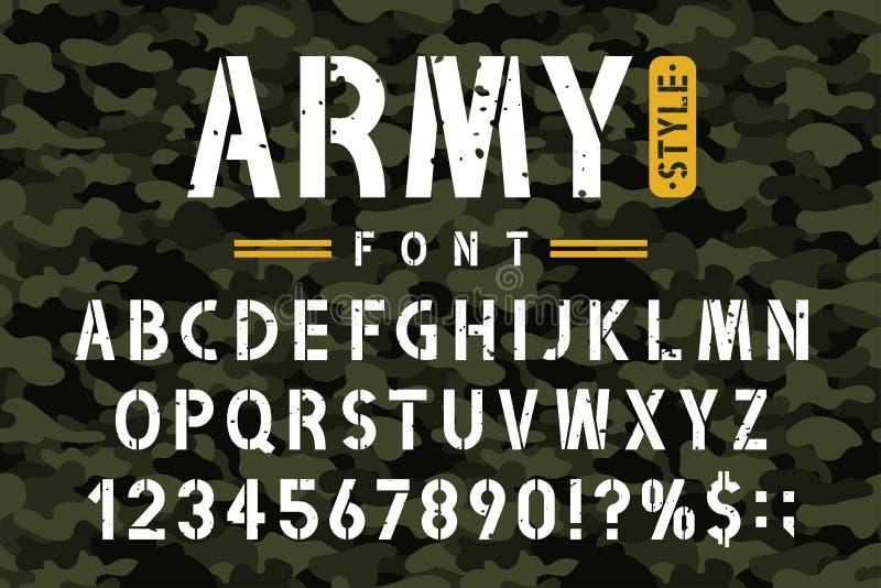 Militär stencilstilsort på kamouflagebakgrund Busen och det grungy stencilalfabetet med nummer i retro armé utformar royaltyfri illustrationer