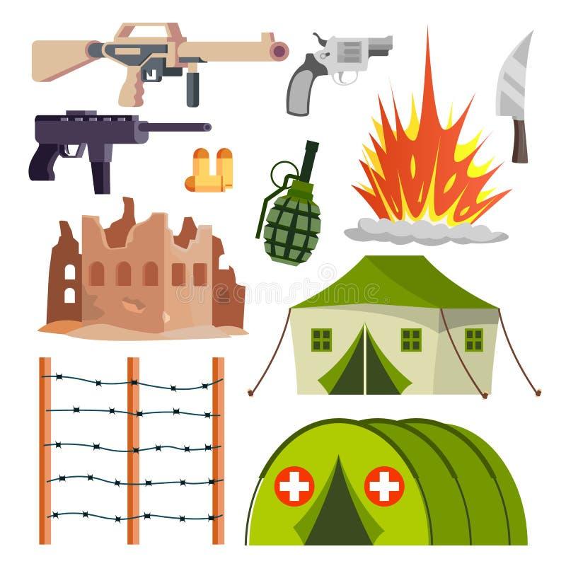 Militär symbolsvektor för krig Sjukhuset bombarderar explosionen, vapen, pistol Isolerad plan tecknad filmillustration royaltyfri illustrationer