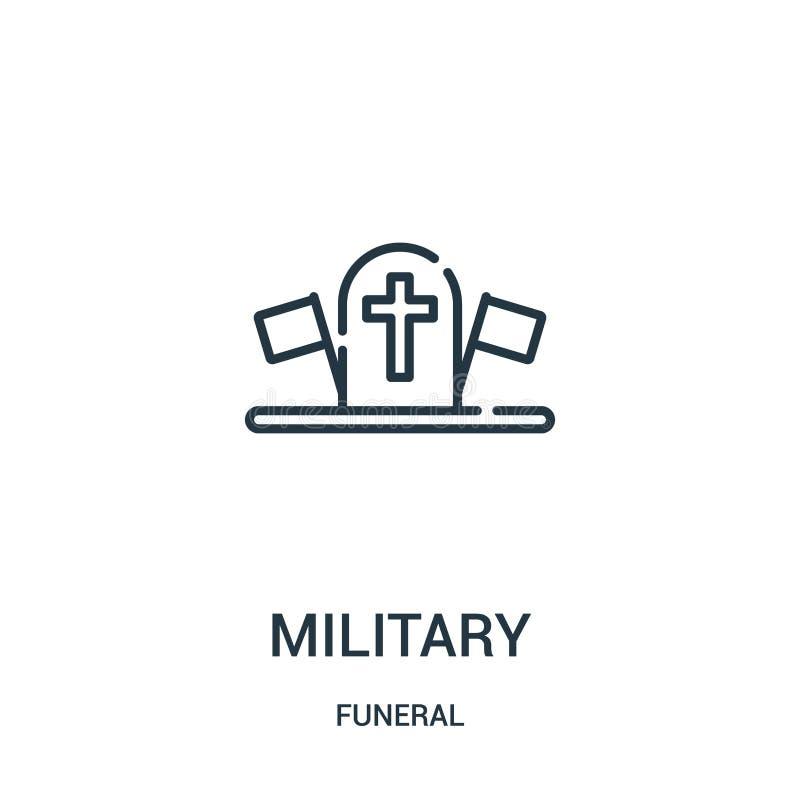 militär symbolsvektor från begravnings- samling Tunn linje militär illustration för översiktssymbolsvektor Linjärt symbol för bru royaltyfri illustrationer