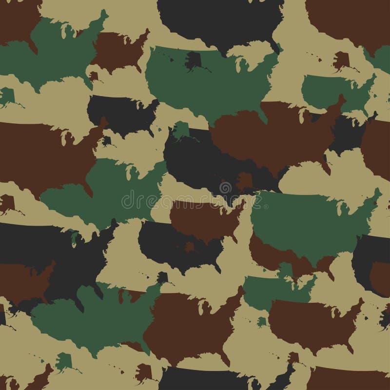 Militär tarnt Muster Nahtloses Wiederholung camo in den verschiedenen Farben Vektormilitär druckt mit USA-Karte Armeewaldland stock abbildung