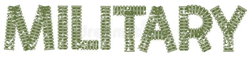 Militär text med bokstäverna som göras av behållarespår royaltyfri illustrationer