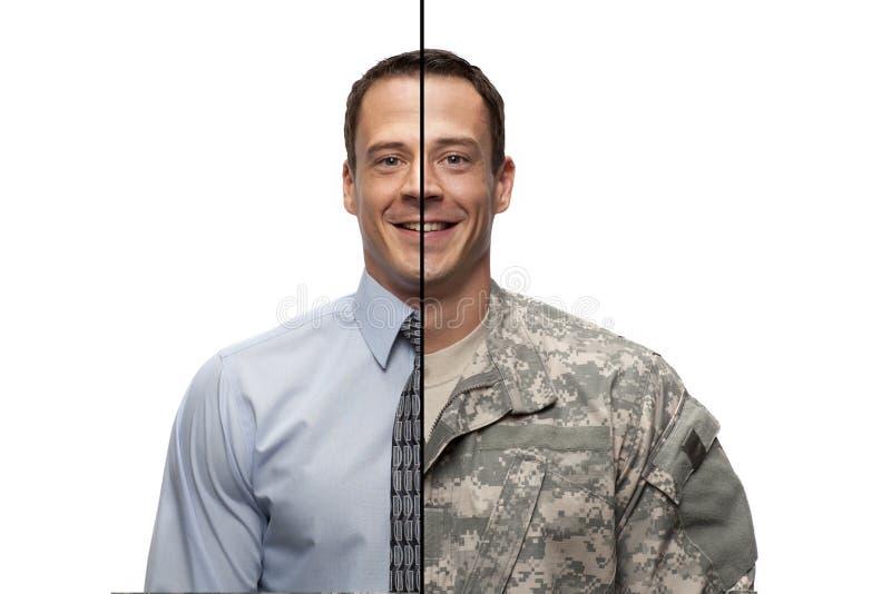 Militär till den civila övergången royaltyfri bild