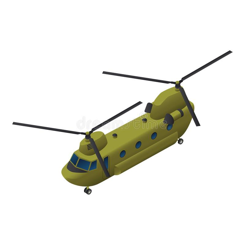 Militär transporthelikoptersymbol, isometrisk stil vektor illustrationer