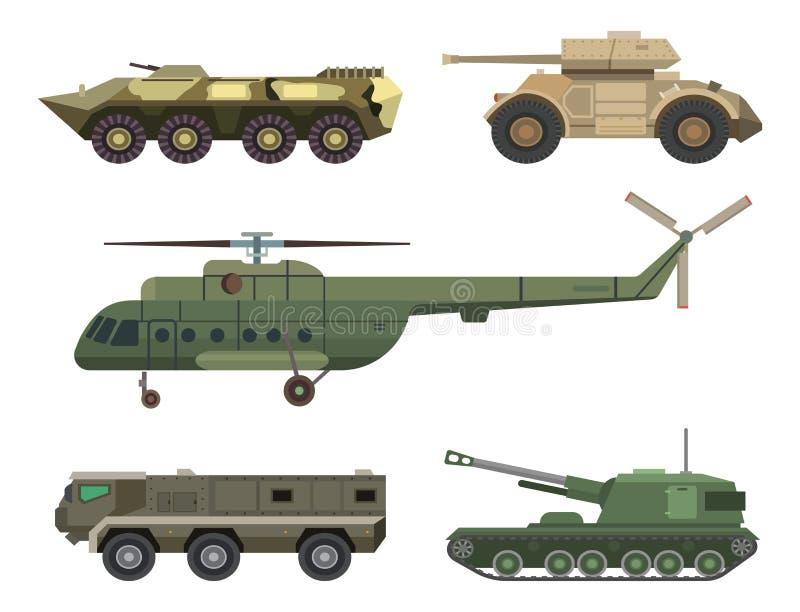 Militär transportiert Vektorfahrzeugtechnikarmee-Kriegsbehälter und Industrierüstungsverteidigungstransportwaffenillustration vektor abbildung