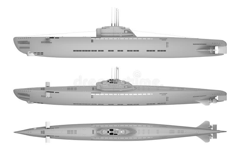 Militär ubåt för överkant- och sidosikt som isoleras på vit vektor illustrationer