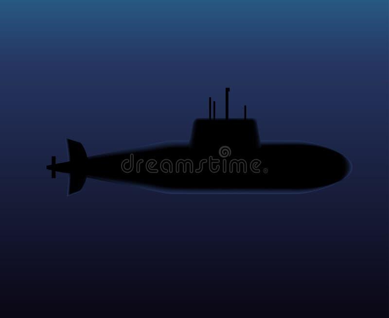 Militär ubåtdykning i det mörka havet vektor illustrationer