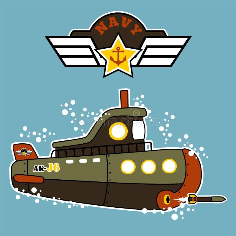 Militär undervattens- ubåttecknad film royaltyfri illustrationer