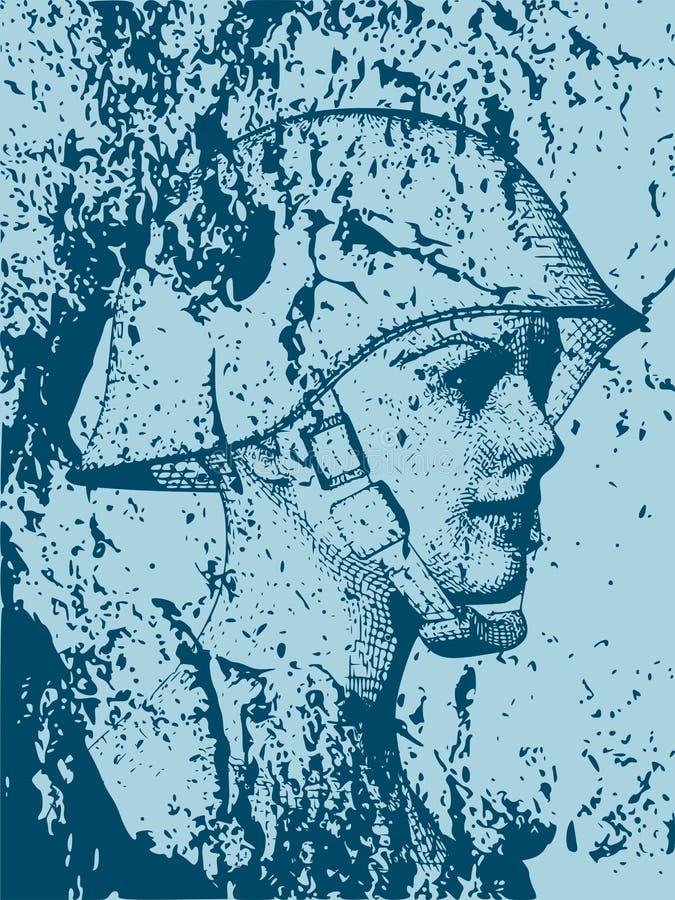 militär uniform kvinna royaltyfri illustrationer