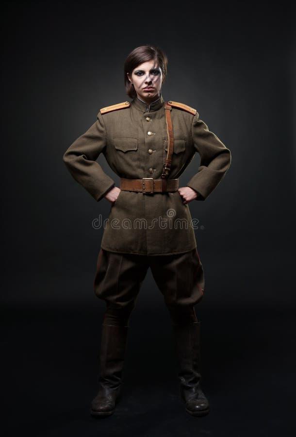 militär uniform kvinna arkivbilder