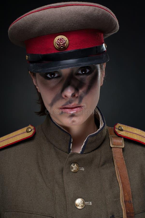 militär uniform kvinna royaltyfria bilder