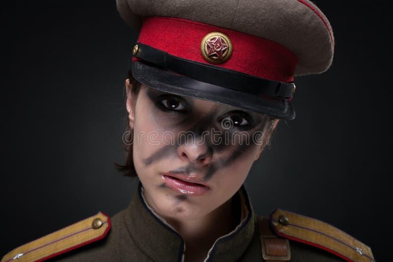 militär uniform kvinna royaltyfri bild