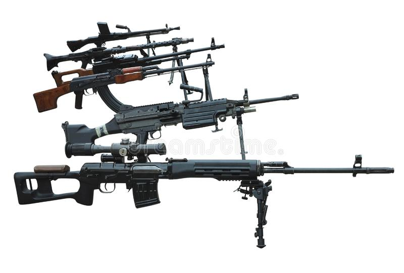 Militär uppsättning av maskingevärarmar för moderna vapen som isoleras på vit arkivfoto