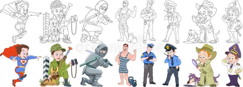 Militär yrkeuppsättning för tecknad film royaltyfri illustrationer