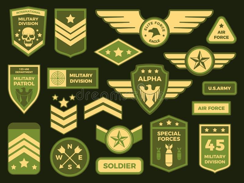 Militära emblem Amerikansk arméemblemlapp eller luftburen skvadronsparre Förse med märke den vektor isolerade illustrationsamling stock illustrationer