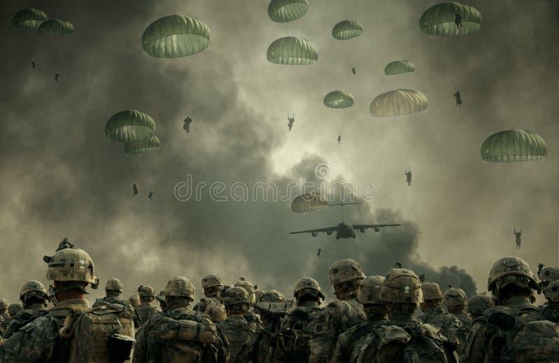 Militära helikoptrar och styrkor i stridfält arkivfoton