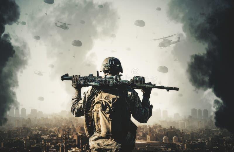 Militära helikoptrar och styrkor mellan rök och brand fotografering för bildbyråer