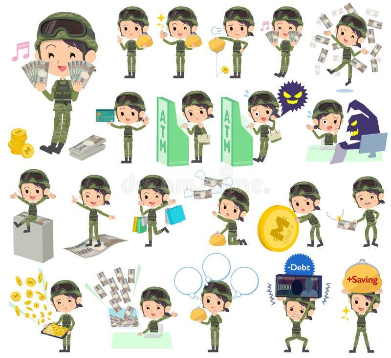 Militära kläderkvinnapengar stock illustrationer