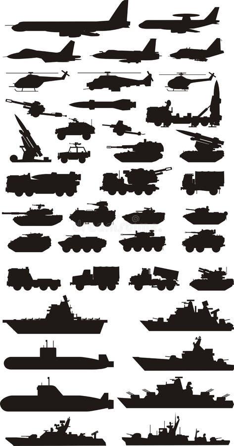 Militära konturer stock illustrationer