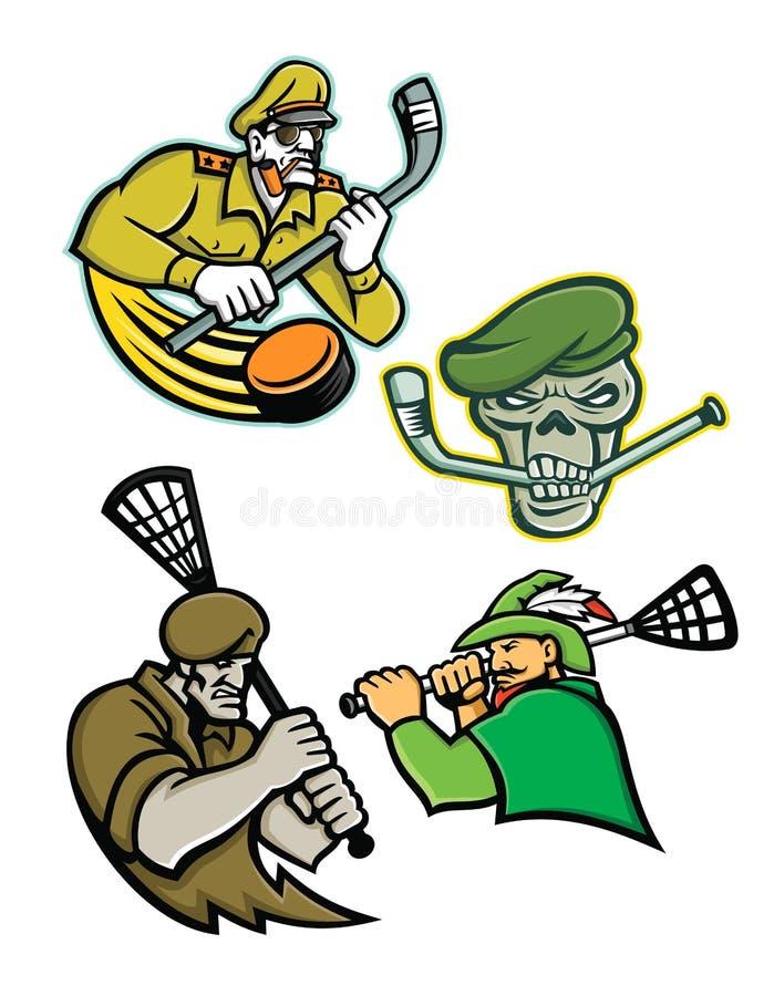 Militära krigare lacrosse och ishockeymaskotsamling stock illustrationer