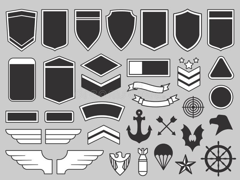 Militära lappar Armésoldatemblemet, gå i skaror emblem och uppsättningen för vektor för beståndsdelar för design för flygvapengra royaltyfri illustrationer