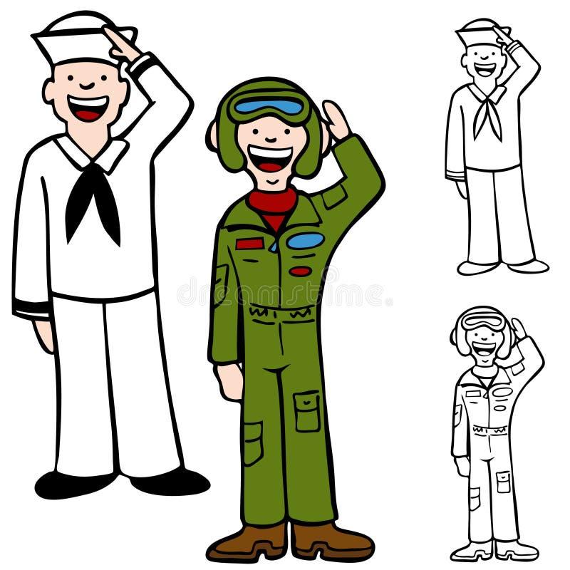 militära män stock illustrationer