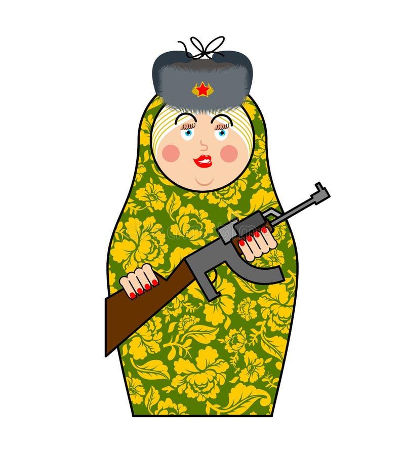 Militära Matrioshka med vapnet Nya ryska folk bygga bo docka stock illustrationer