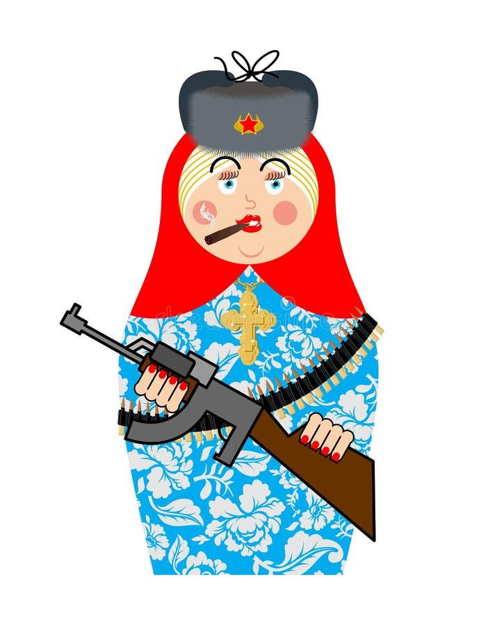 Militära Matrioshka med vapnet Nya ryska folk bygga bo docka Nati royaltyfri illustrationer