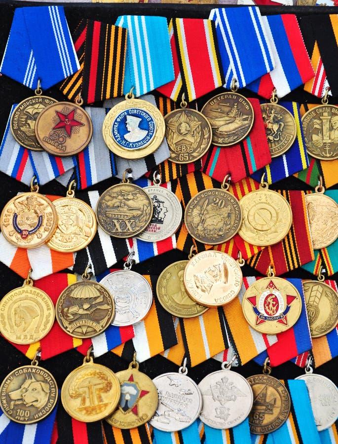 militära medaljer royaltyfria foton