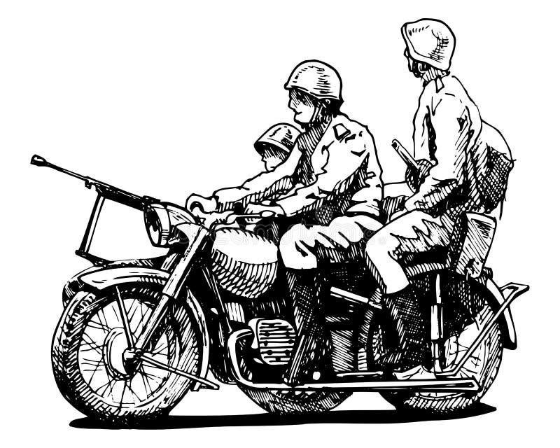 Militära motorcyklar vektor illustrationer