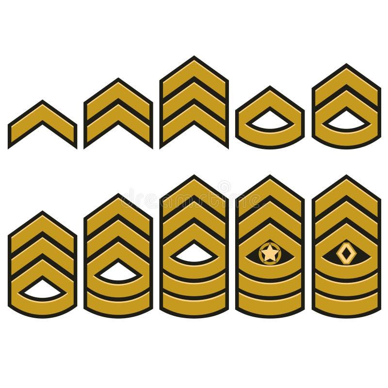 Militära ranger uppsättning, armélappar vektor royaltyfri illustrationer