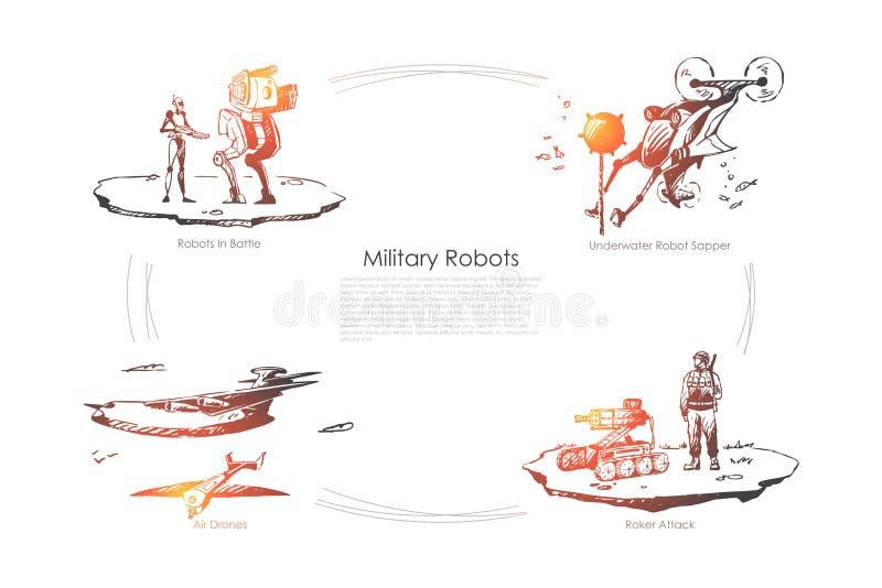 Militära robotar - robotar i strid, undervattens- sapper, roketattack, uppsättning för begrepp för luftsurrvektor vektor illustrationer
