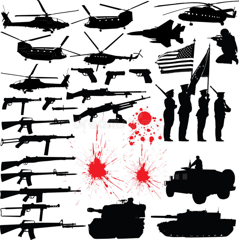 militära silhouettes royaltyfri illustrationer