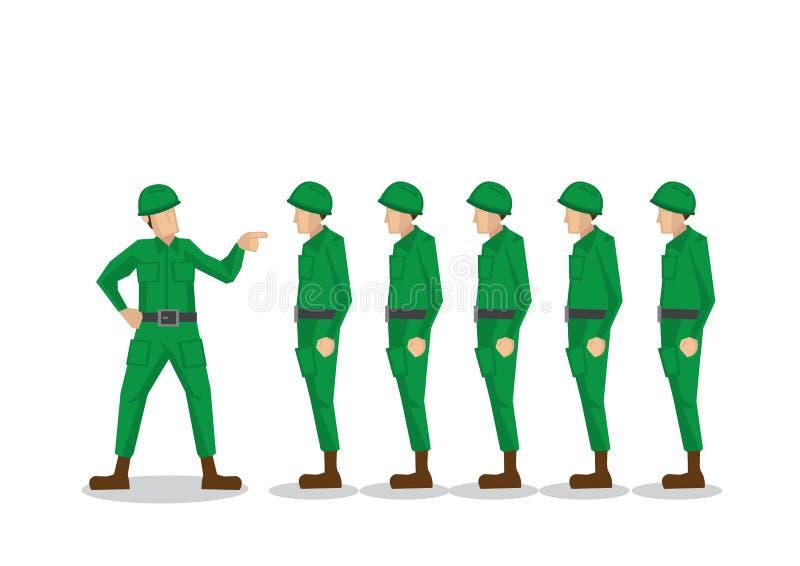Militära soldater i den gröna likformign som får grälad på av deras lagarméofficer royaltyfri illustrationer