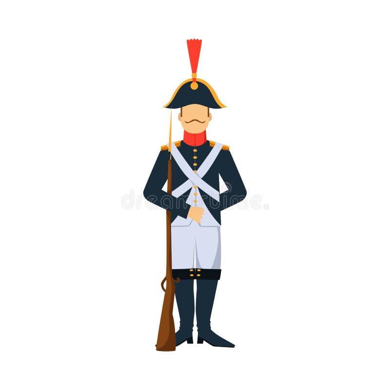 Militära styrkor för kontur för man för harnesk för vapen för Frankrike soldattecken planlägger och den amerikanska kämpeammuniti royaltyfri illustrationer